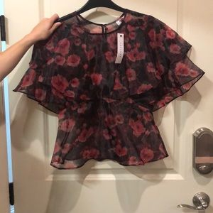 Top shop Red and Black Blouse